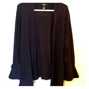 Black Cardigan Bows Bell Sleeves 1X Plus Size